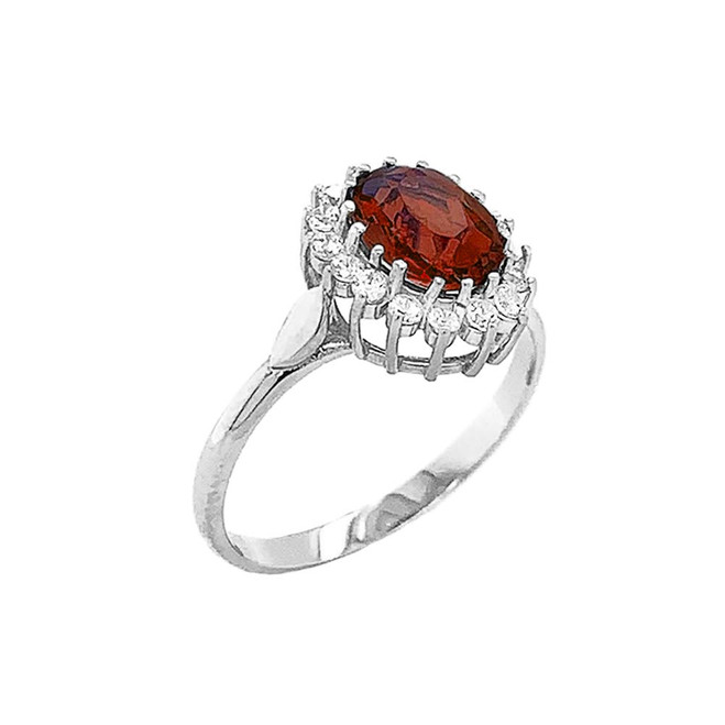 Genuine Garnet Fancy Engagement/Wedding Solitaire Ring in Sterling Silver