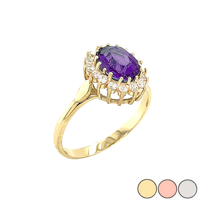 Genuine Amethyst Fancy Engagement/Wedding Solitaire Ring in Gold (Yellow/Rose/White)