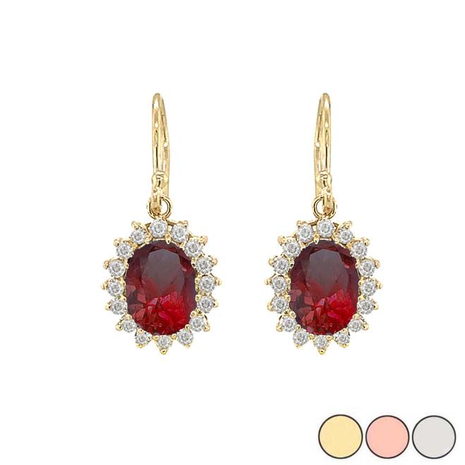 Genuine Garnet Oval-Shaped Fancy Dangle Earrings in Gold (Yellow/Rose/White)