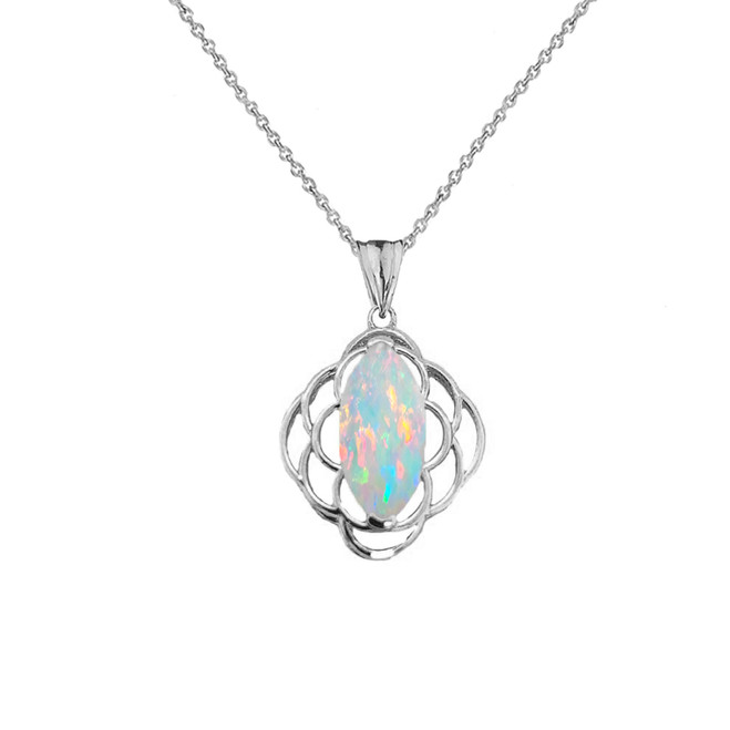 Simulated Opal Open Work Pendant Necklace In Sterling Silver
