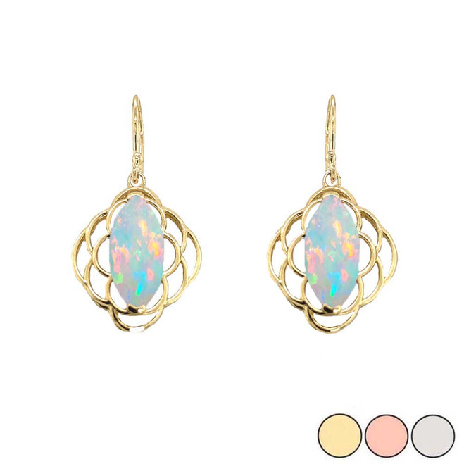 Simulated Opal Open Work Earring In Gold (Yellow/Rose/White)