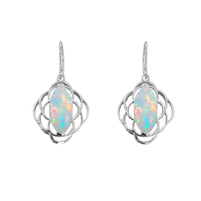 Simulated Opal Open Work Earring In Sterling Silver