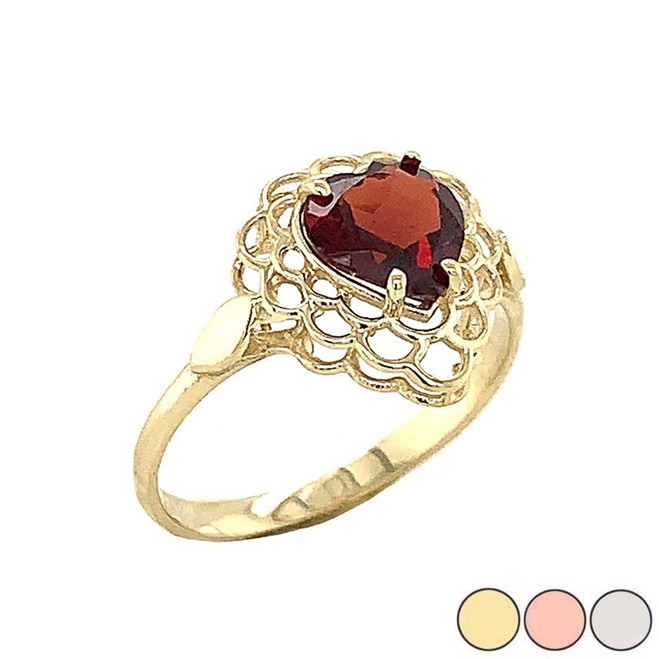Garnet Filigree Heart-Shaped Ring in Gold (Yellow/Rose/White)
