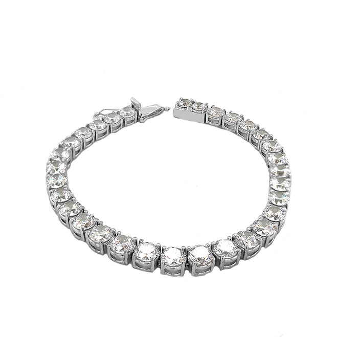 High Quality Tennis Bracelet With 30cts Cubic Zirconia  In White Gold
