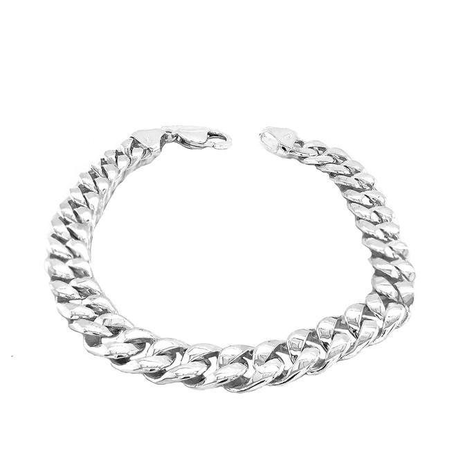 """Sterling Silver Hand Made Cuban Link Bracelet 8.60"""""""
