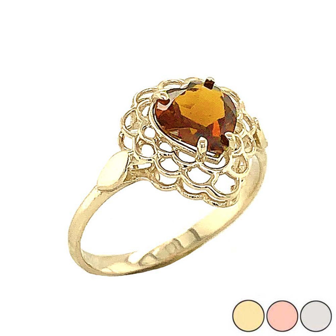 Citrine Filigree Heart-Shaped Ring in Gold (Yellow/Rose/White)