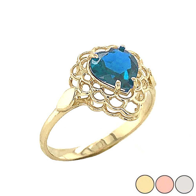 Blue Topaz Filigree Heart-Shaped Ring in Gold (Yellow/Rose/White)