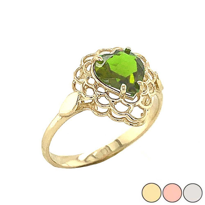 Peridot Filigree Heart-Shaped Ring in Gold (Yellow/Rose/White)