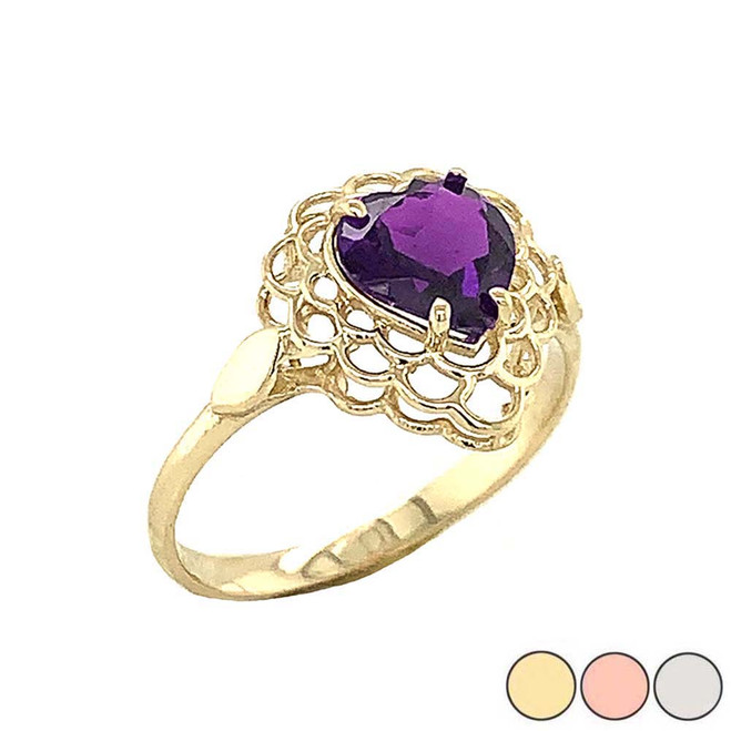 Amethyst Filigree Heart-Shaped Ring in Gold (Yellow/Rose/White)
