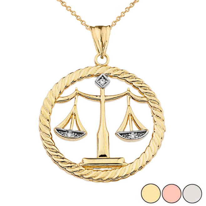 Diamond Scales of Justice Rope Pendant Necklace in Gold (Yellow/Rose/White)