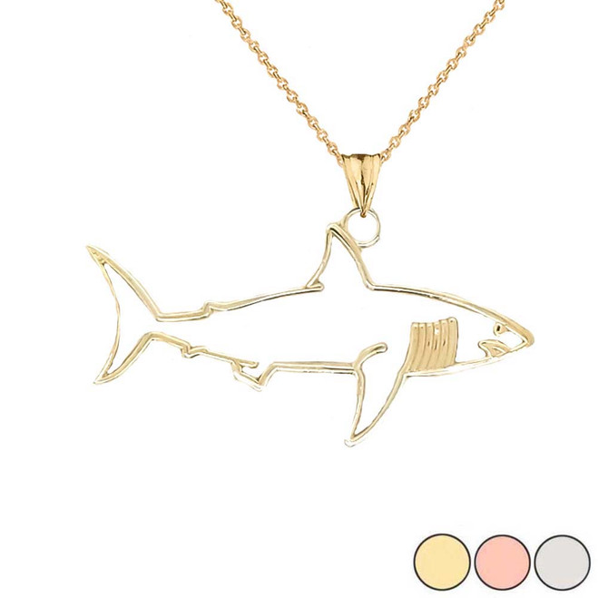 Shark Cut Out Pendant Necklace In Gold (Yellow/Rose/White)