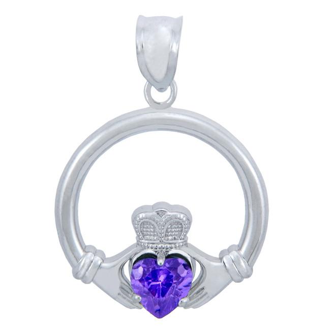 Silver Claddagh Alexandrite CZ Heart Charm Pendant (S)