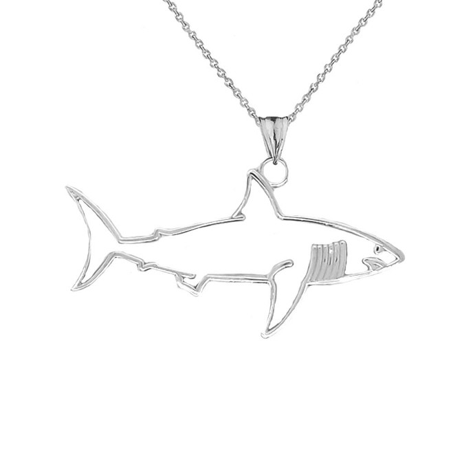 Shark Cut Out Pendant Necklace In Sterling Silver