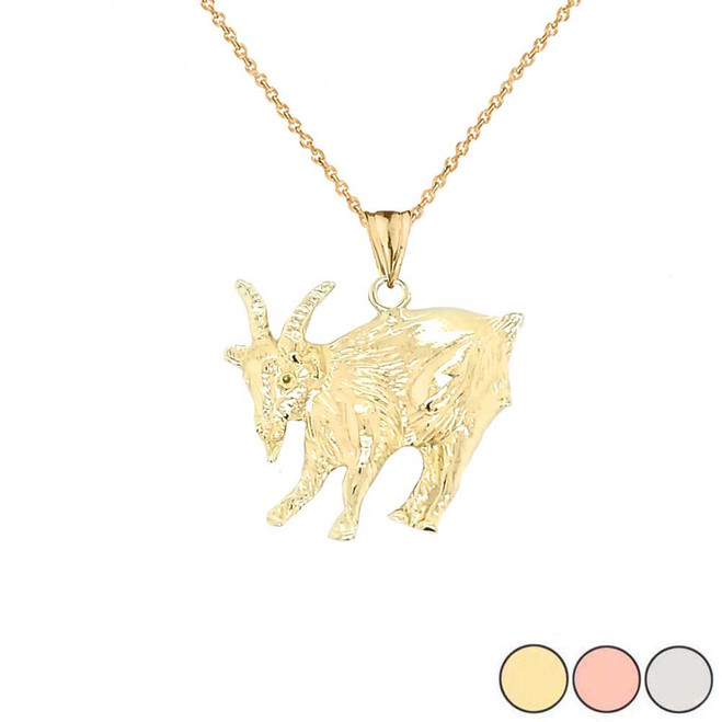 Goat Pendant Necklace In Gold (Yellow/Rose/White)