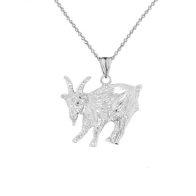 Goat Pendant Necklace In Sterling Silver