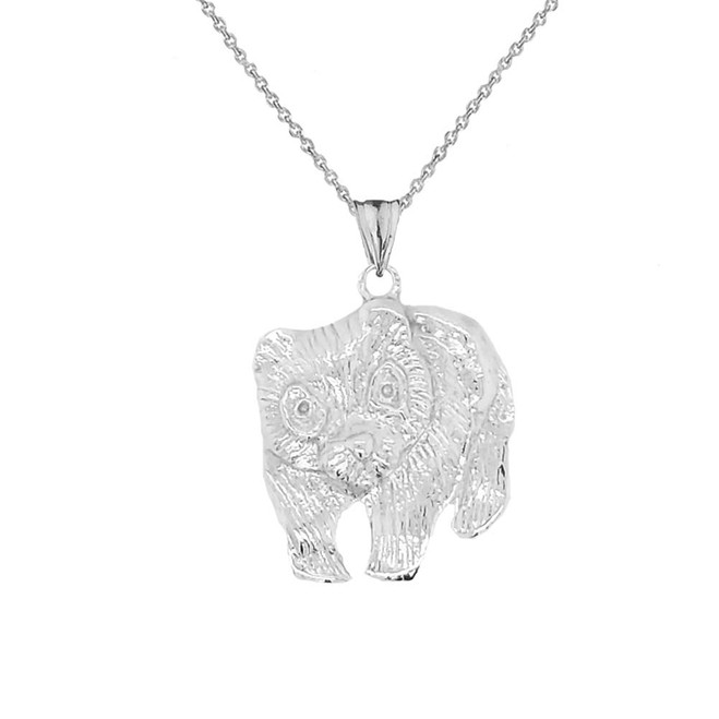 Polar Bear Cub Pendant Necklace In Sterling Silver