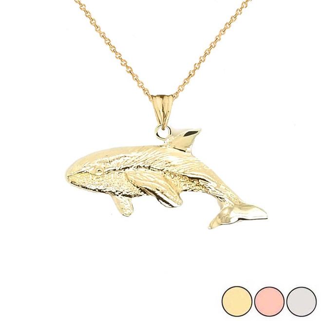 Whale Pendant Necklace In Gold (Yellow/Rose/White)