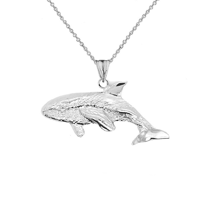 Whale Pendant Necklace In Sterling Silver