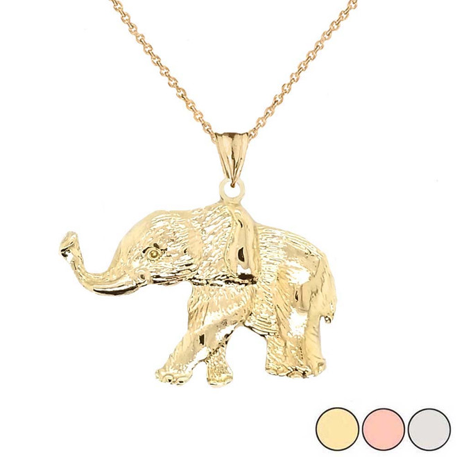 Elephant Pendant Necklace In Gold (Yellow/Rose/White)
