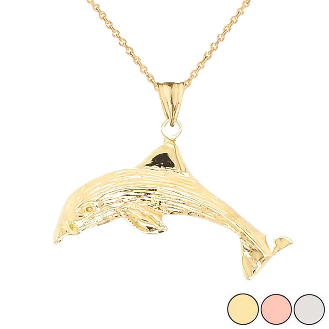 Dolphin Pendant Necklace In Gold (Yellow/Rose/White)