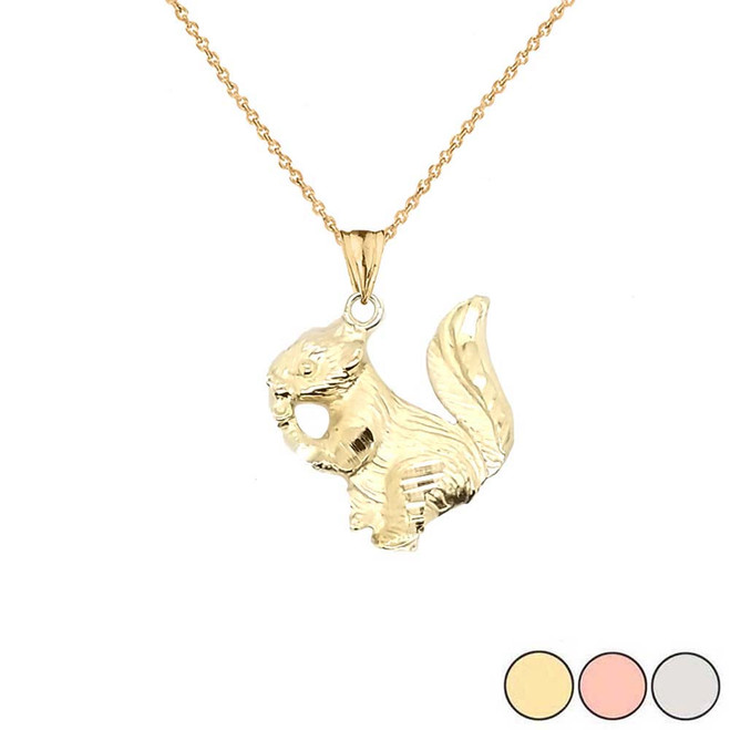 Squirrel Pendant Necklace In Gold (Yellow/Rose/White)