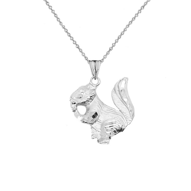 Squirrel Pendant Necklace In Sterling Silver