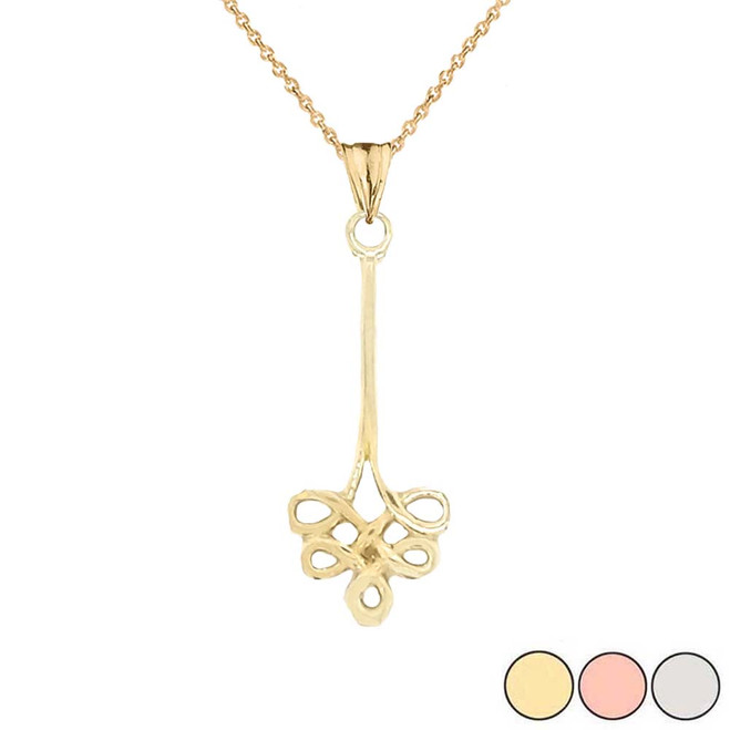 Shamrock Celtic Clover Knot Pendant Necklace In Gold (Yellow/Rose/White)