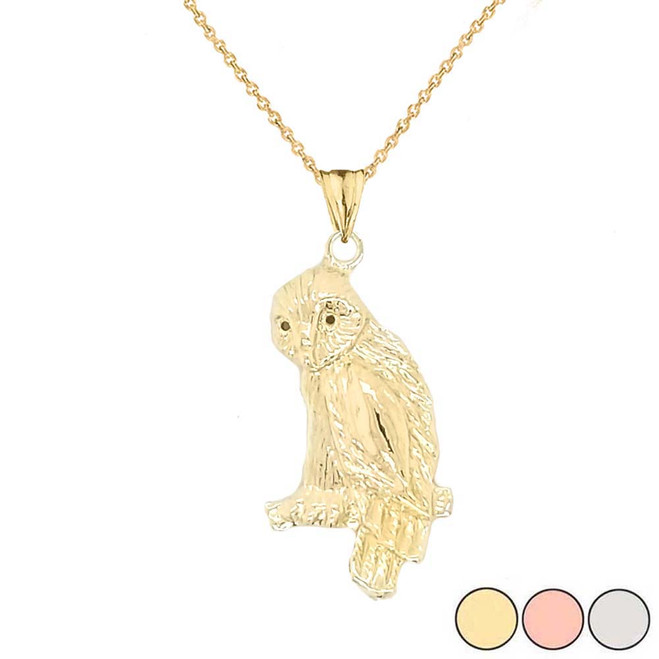 Owl Pendant Necklace In Gold (Yellow/Rose/White)