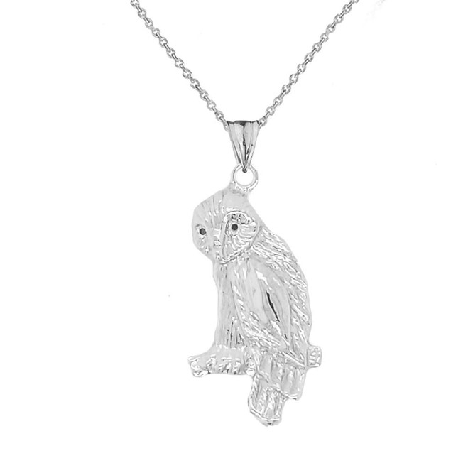 Owl Pendant Necklace In Sterling Silver