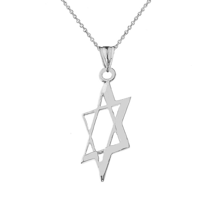 Slanted Star of David Pendant Necklace In Sterling Silver