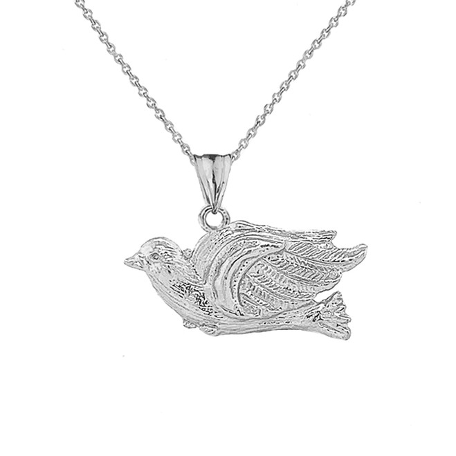 Dove Bird Pendant Necklace In Sterling Silver
