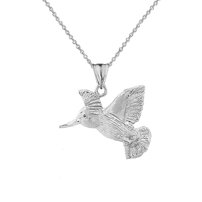 Hummingbird Pendant Necklace In Sterling Silver