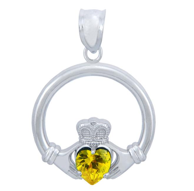 Silver Claddagh Yellow CZ Heart Charm Pendant (S)