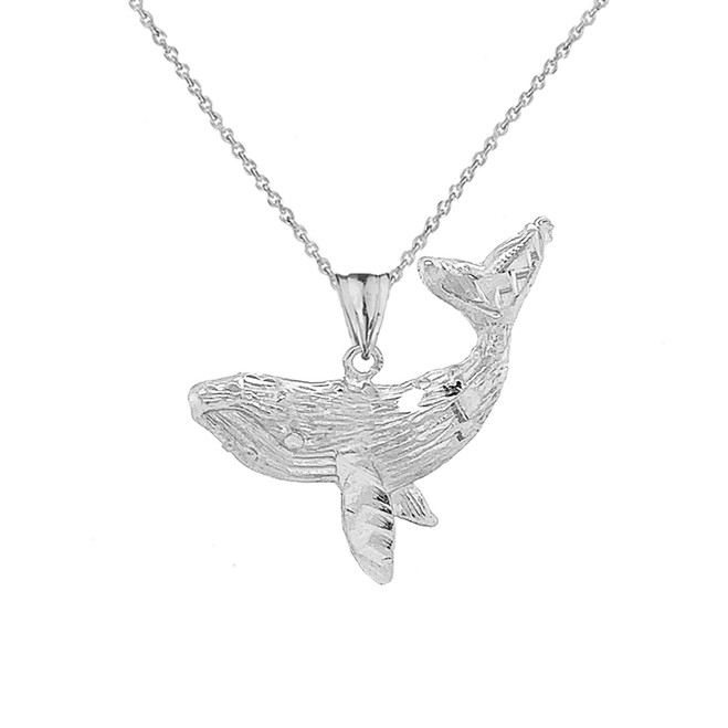 Humpback Whale Pendant Necklace In Sterling Silver