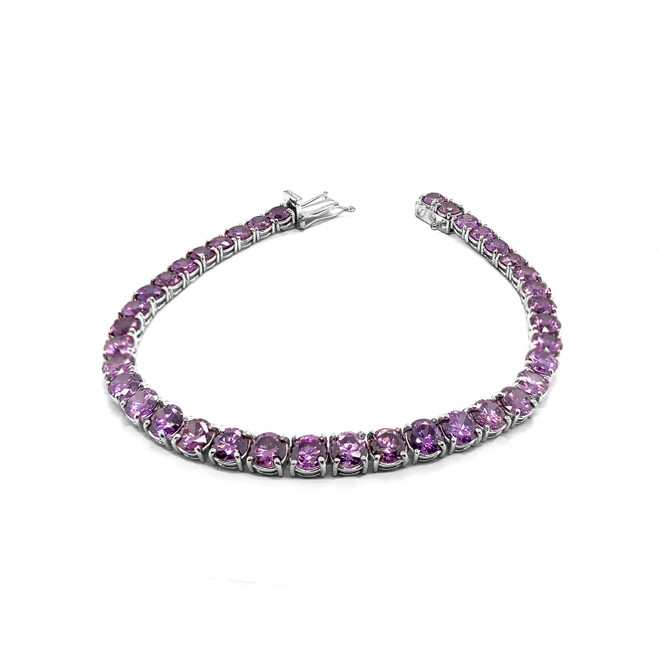 Genuine Amethyst Fancy Tennis Bracelet in Sterling Silver