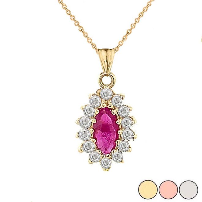 Genuine Ruby Marquise-Shaped Fancy Pendant Necklace in Gold (Yellow/Rose/White)