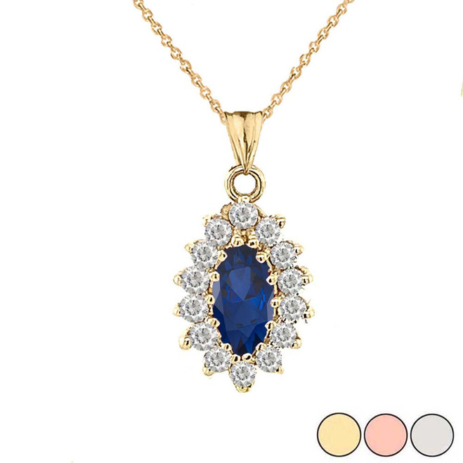 Genuine Sapphire Marquise-Shaped Fancy Pendant Necklace in Gold (Yellow/Rose/White)