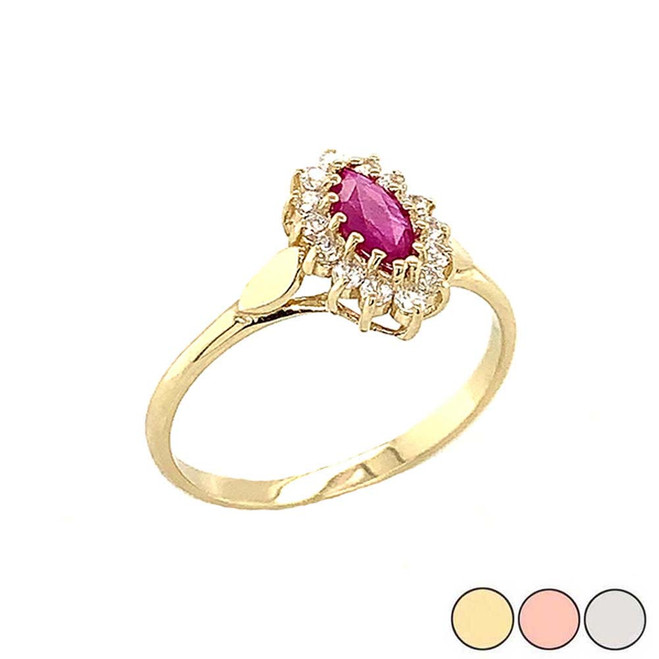 Genuine Ruby Marquise-Shaped Fancy Engagement/Wedding Solitaire Ring in Gold (Yellow/Rose/White)