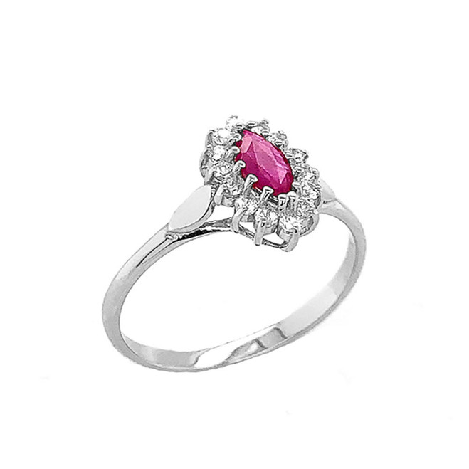 Genuine Ruby Marquise-Shaped Fancy Engagement/Wedding Solitaire Ring in Sterling Silver