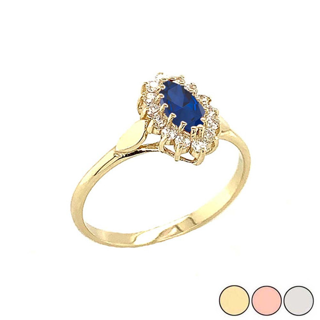 Genuine Sapphire Marquise-Shaped Fancy Engagement/Wedding Solitaire Ring in Gold (Yellow/Rose/White)