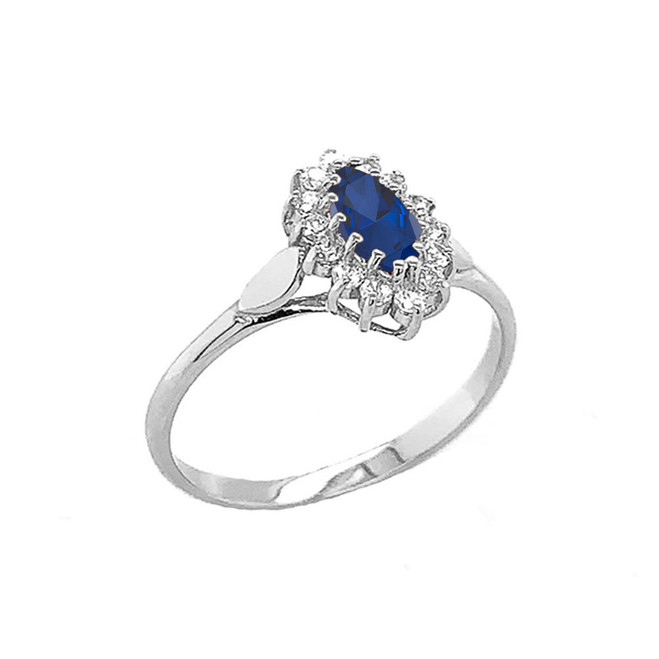 Genuine Sapphire Marquise-Shaped Fancy Engagement/Wedding Solitaire Ring in Sterling Silver