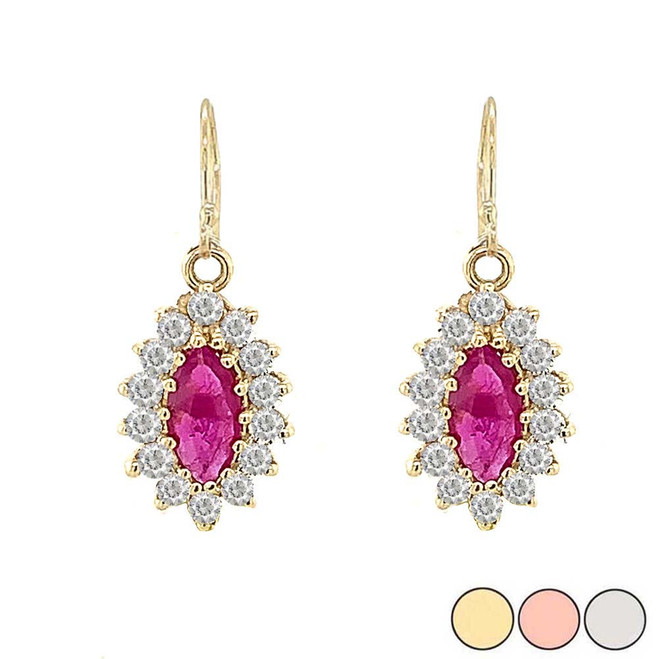 Genuine Ruby Marquise-Shaped Fancy Dangle Earrings in Gold (Yellow/Rose/White)