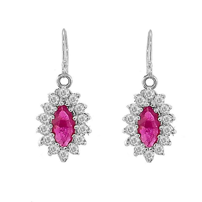 Genuine Ruby Marquise-Shaped Fancy Dangle Earrings in Sterling Silver