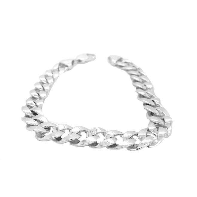 Sterling Silver Hand Made Cuban Link Bracelet 10.4mm