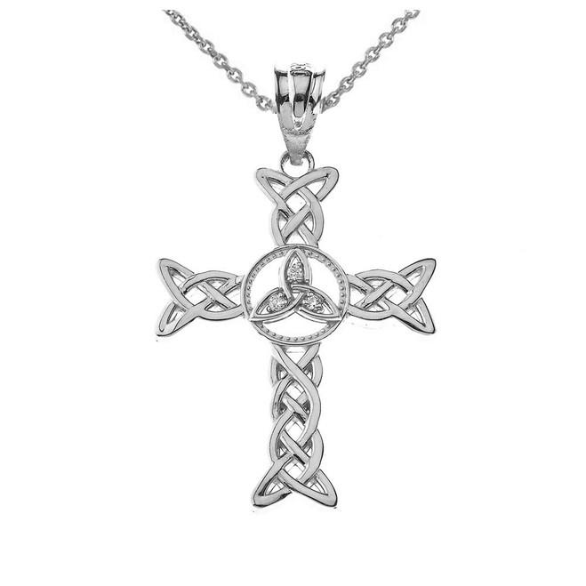 Trinity Celtic Open Cross Pendant Necklace Sterling Silver