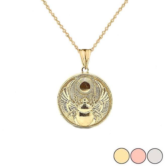 Ancient Egyptian Scarab Beetle and Sun Disc Pendant Necklace in Gold (Yellow/Rose/White)