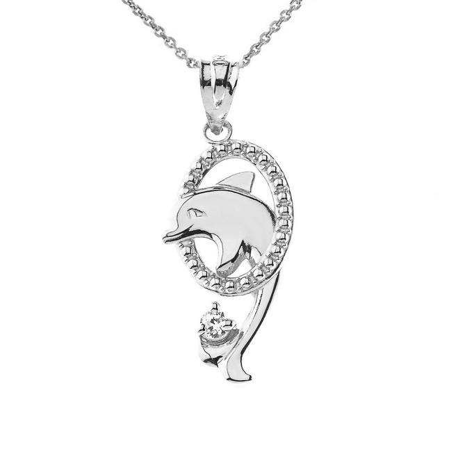 Shiny Dolphin Hoop Pendant Necklace in Sterling Silver