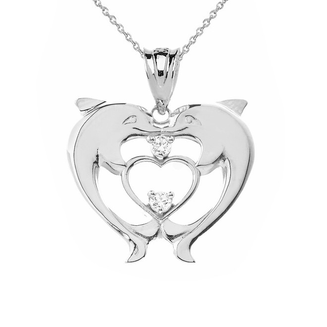 Heart Shaped Double Dolphin Pendant Necklace in Sterling Silver