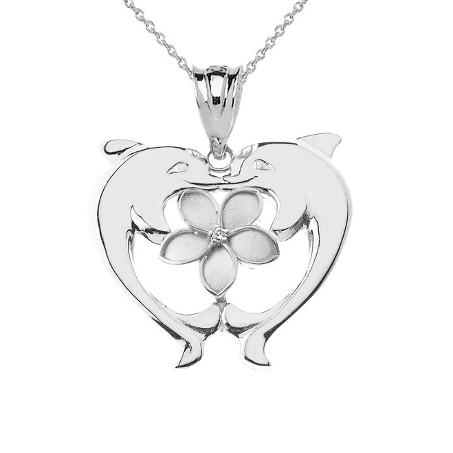 Double Dolphin Plumeria Pendant Necklace in Sterling Silver