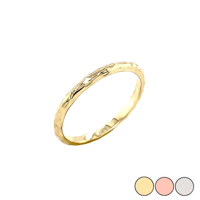 Handmade 1.9MM Hammered Wedding Band in Gold (Yellow/Rose/White)